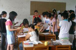 asian children in a classroom