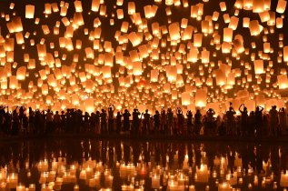Chinese lanterns by river